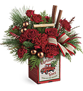 Teleflora's Merry Vintage Christmas Bouquet in Los Angeles CA, RTI Tech Lab
