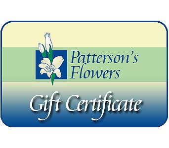 Patterson's Gift Certificate in Big Rapids MI, Patterson's Flowers, Inc.