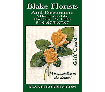 Gift Card $55-$100 in Rockledge PA, Blake Florists