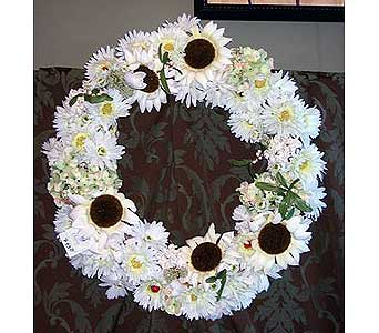 Silk Wreath All White in Lake Forest CA, Cheers Floral Creations