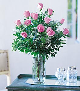 A Dozen Pink Roses in Evansville IN, Cottage Florist & Gifts