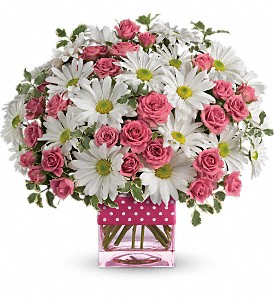 Teleflora's Polka Dots and Posies in Oakland MD, Green Acres Flower Basket