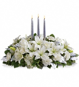 Silver Elegance Centerpiece in Chicago IL, Wall's Flower Shop, Inc.