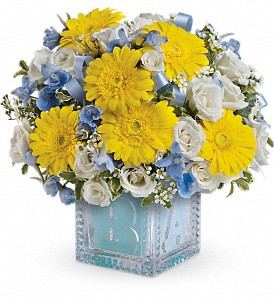 Baby's First Block by Teleflora - Blue in Hamilton OH, Gray The Florist, Inc.
