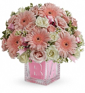 Baby's First Block by Teleflora - Pink in Lexington KY, Oram's Florist LLC