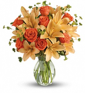 Fiery Lily and Rose in River Falls WI, Bo Jons Flowers And Gifts