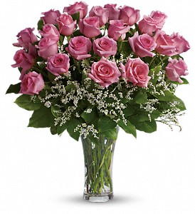 Make Me Blush - Dozen Long Stemmed Pink Roses in Wolfeboro Falls NH, Linda's Flowers & Plants