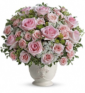 Teleflora's Parisian Pinks with Roses in Walled Lake MI, Watkins Flowers