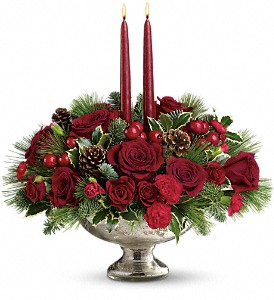 Teleflora's Mercury Glass Bowl Bouquet in New York NY, Fellan Florists Floral Galleria