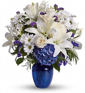 Beautiful in Blue in Salem MA, Flowers by Darlene/North Shore Fruit Baskets