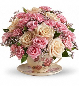 Teleflora's Victorian Teacup Bouquet in Richmond BC, Touch of Flowers