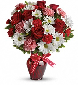 Hugs and Kisses Bouquet with Red Roses in Muncy PA, Rose Wood Flowers