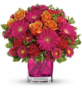 Teleflora's Turn Up The Pink Bouquet in Vancouver BC, Purple Rainbow Florist
