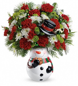 Teleflora's Snowman Cookie Jar Bouquet in Oak Hill WV, Bessie's Floral Designs Inc.