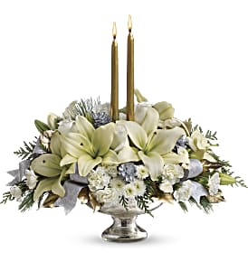 Teleflora's Silver And Gold Centerpiece in Huntsville AL, Albert's Flowers