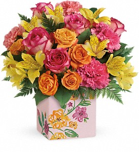 Teleflora's Painted Blossoms Bouquet in Meadville PA, Cobblestone Cottage and Gardens LLC