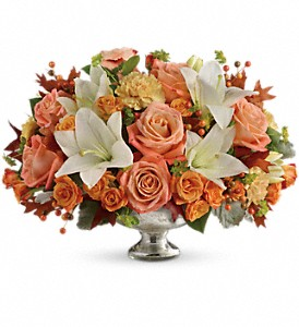 Teleflora's Harvest Shimmer Centerpiece in Jersey City NJ, Entenmann's Florist