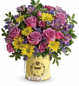 Teleflora's Blooming Pail Bouquet in Indianapolis IN, Steve's Flowers & Gifts