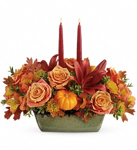 Teleflora's Country Oven Centerpiece in Milwaukee WI, Flowers by Jan