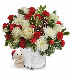 Send a Hug Bear Buddy Bouquet by Teleflora in Plymouth MI, Vanessa's Flowers