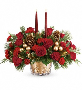 Teleflora's Festive Glow Centerpiece in Rochester NY, Red Rose Florist & Gift Shop