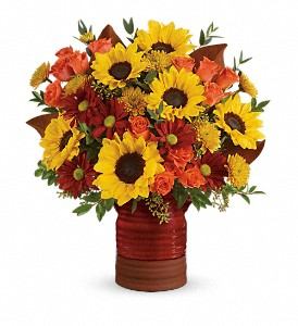 Teleflora's Sunshine Crock Bouquet in Mc Louth KS, Mclouth Flower Loft