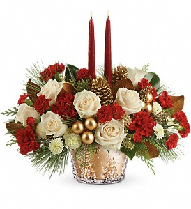 Teleflora's Winter Pines Centerpiece in Ashford AL, The Petal Pusher