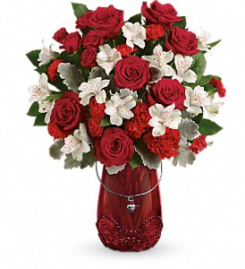 Teleflora's Red Haute Bouquet in Loveland CO, Rowes Flowers
