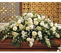 Pure White Casket Spray in DeKalb IL Glidden Campus Florist & Greenhouse