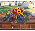 Vibrant Summer Casket Spray in Oklahoma City OK Capitol Hill Florist and Gifts