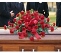 Red Regards Casket Spray in Timmins ON Timmins Flower Shop Inc.