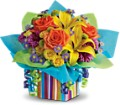 Teleflora's Rainbow Present in Oklahoma City OK Array of Flowers & Gifts