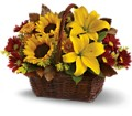 Golden Days Basket in Herndon VA Bundle of Roses
