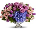 Teleflora's Purple Elegance Centerpiece in White Stone VA Country Cottage