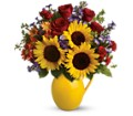 Teleflora's Sunny Day Pitcher of Joy in Oshkosh WI Flowers & Leaves LLC