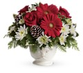Teleflora's Simply Merry Centerpiece in Anchorage AK Flowers By June