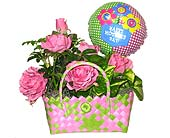 Pink Rose Handbag Planter in Oklahoma City OK, Array of Flowers & Gifts