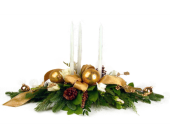 Triple Candle Gold Centerpiece in Indianapolis IN, Enflora