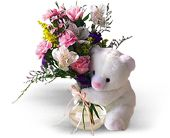 Teleflora's Bear Hug Bear with Roses in Festus MO, Judy's Flower Basket