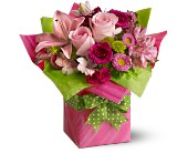 Teleflora's Pretty Pink Present in Hollywood FL, Flowers By Judith
