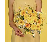 Yellow Germini Daisy Bouquet w/ Oncidium Orchids in Abington MA, The Hutcheon's Flower Co, Inc.