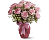 A Dozen Pink Roses and Lace in San Antonio TX, Dusty's & Amie's Flowers
