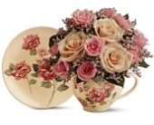 Teleflora's Victorian Teacup Bouquet in Edmonton AB, Petals For Less Ltd.