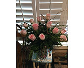 ONE DOZEN Pink Roses in Napa CA, Beau Fleurs Napa Valley Flowers