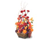 Fruits and Flowers Basket in Dallas TX, Petals & Stems Florist