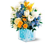 Teleflora's Crystal Baby Block (Boy), picture