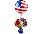 Red, White and Balloon Bouquet in Christiansburg VA, Gates Flowers & Gifts