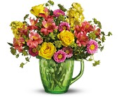 Teleflora's Spring Pitcher Bouquet in San Juan PR, De Flor's Flowers & Gifts