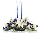 Blue & White Holiday Centerpiece in St. Louis MO, Walter Knoll Florist