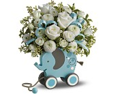 MiGi's Baby Elephant Bouquet by Teleflora - Blue in Orlando FL, Elite Floral & Gift Shoppe